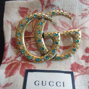 Gucci GG Crystal Brooch Pin Signed